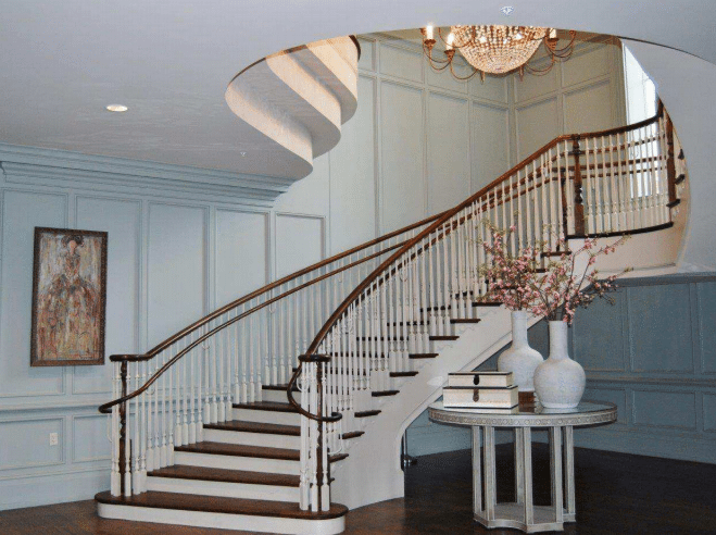Curved staircase curved stairs round staircase for Curved stair case