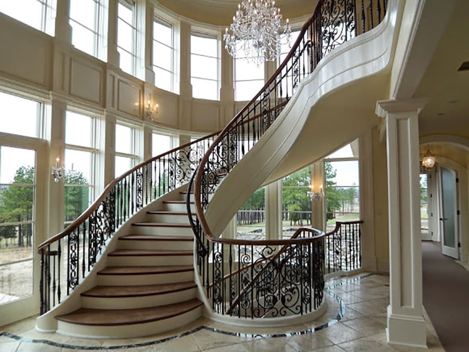 Luxury staircases residential design artistic stairs for Double curved staircase
