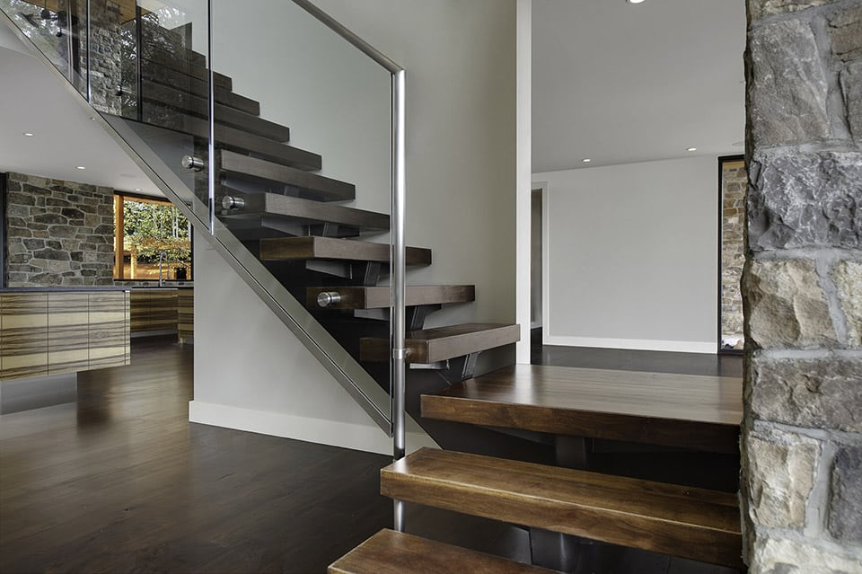 Modern Railing Design, glass and stainless steel staircase
