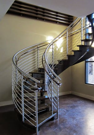 Open Riser Curved Stairs