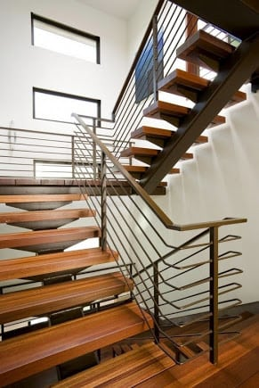 stainless steel handrail open riser stairs