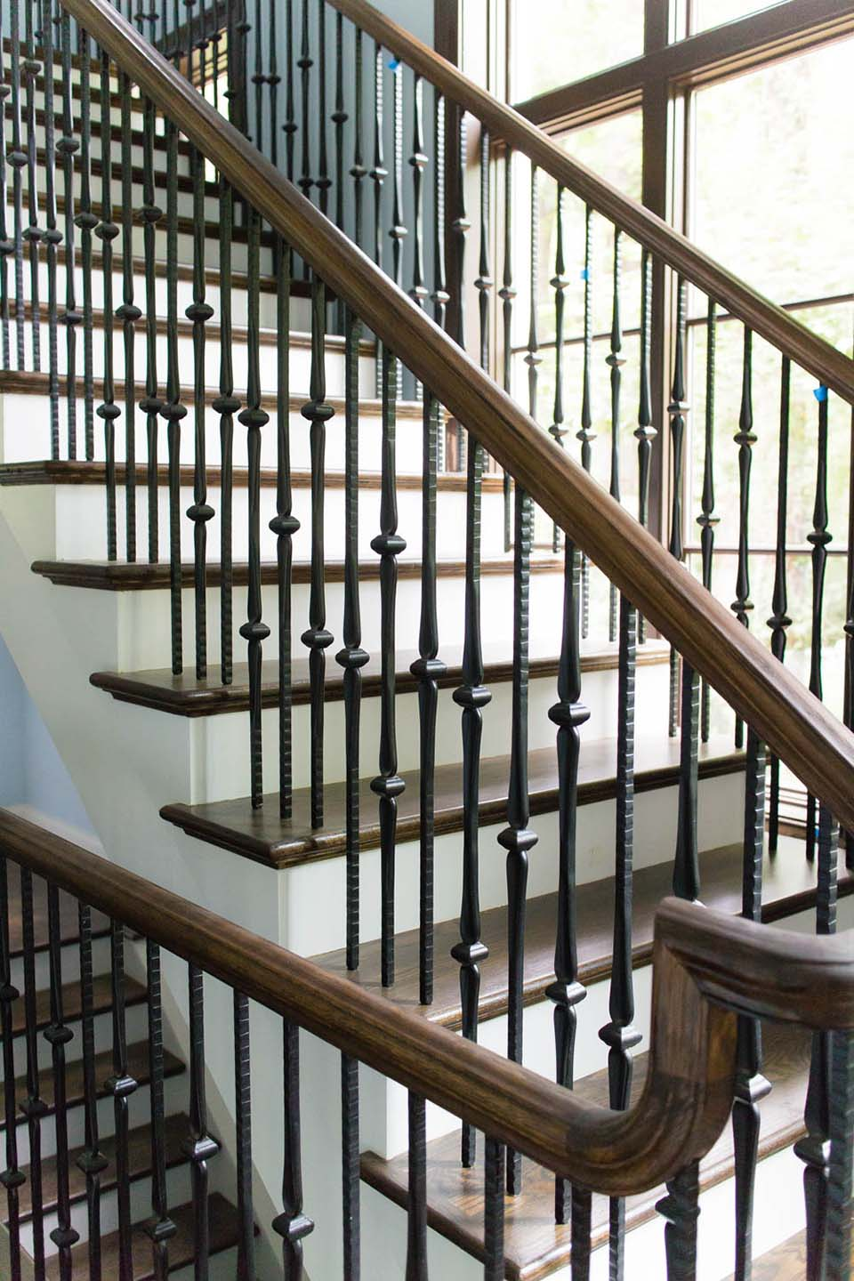 Design Metal Stair Railing metal baluster custom stairs artistic craftsman staircase wooden baluster