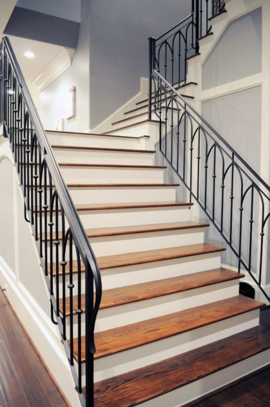 Wrought iron stair railing artistic stairs - Metal railings for stairs exterior ...