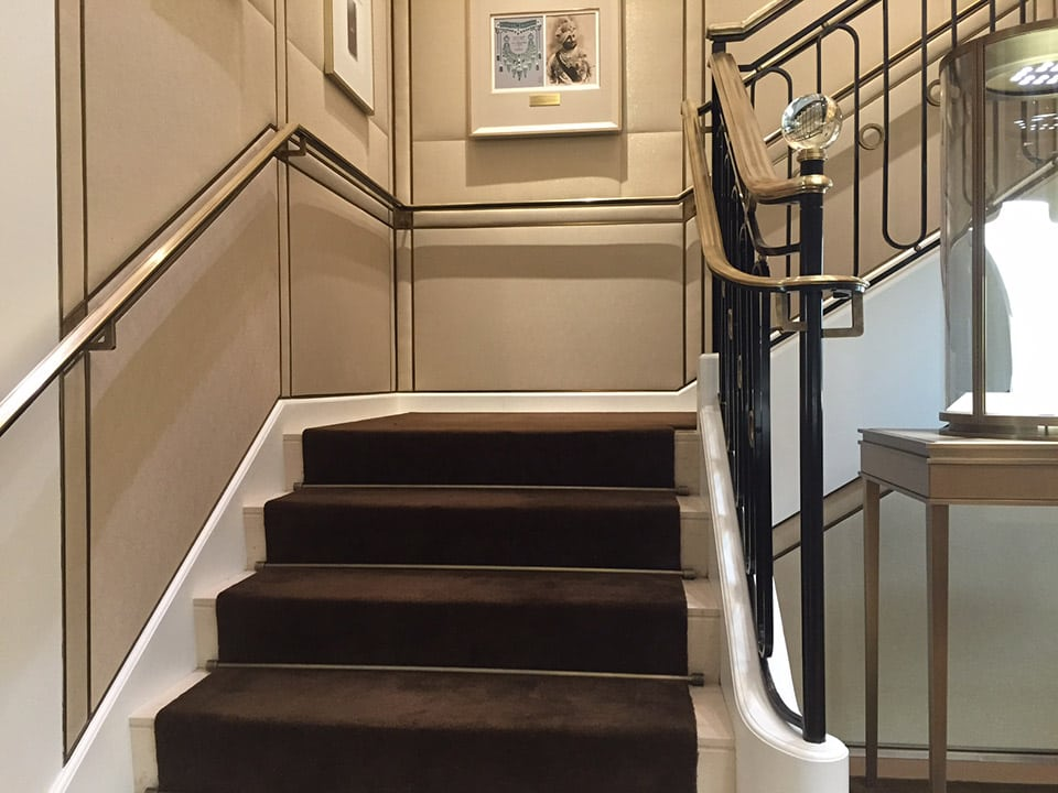 Brass wrought iron stair railing