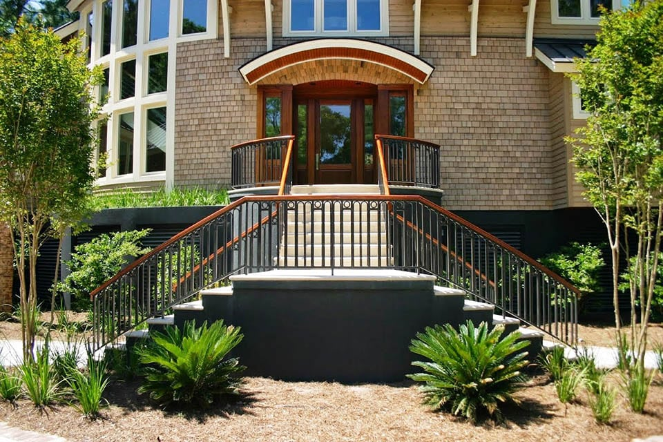 exterior stairs wrought iron handrail