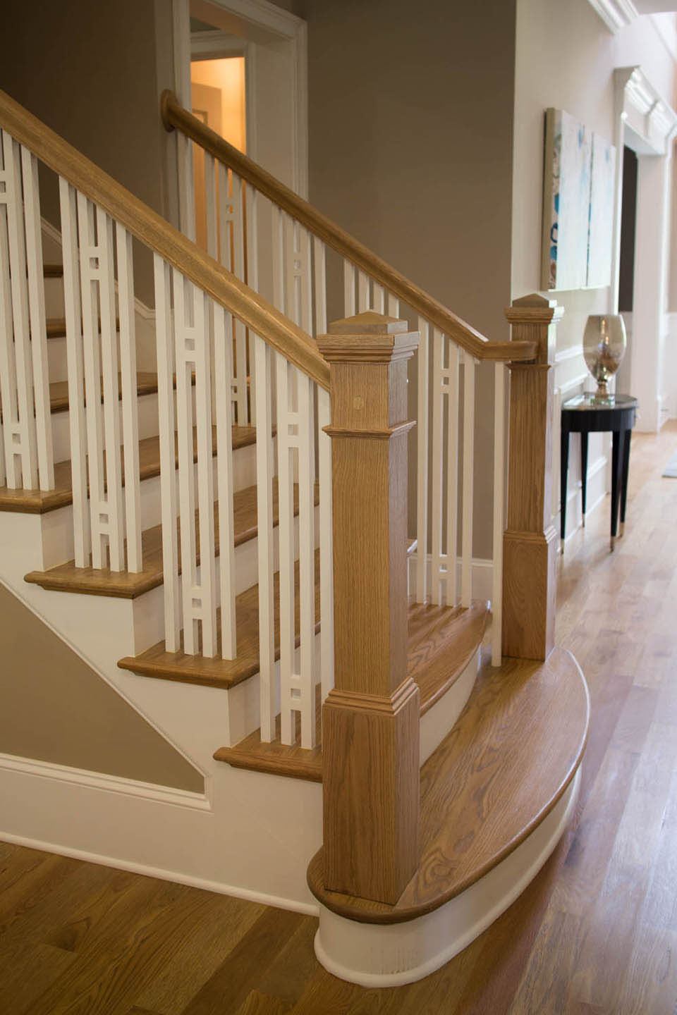 Wooden baluster custom stairs artistic stairs - Interior stair railing contractors ...