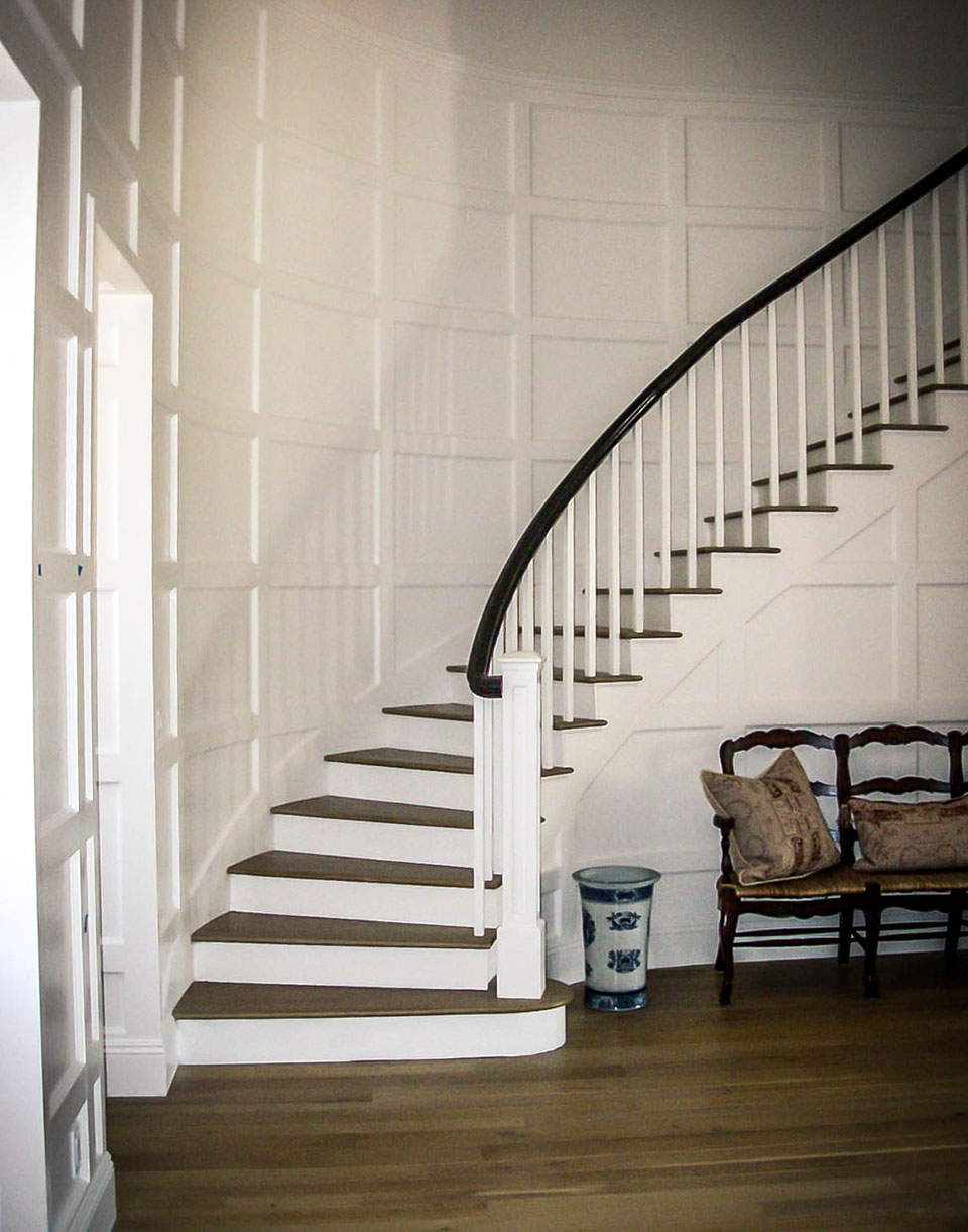 Curved Mission-Style Staircase
