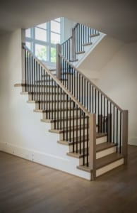 Straight Stair with wrought iron balusters