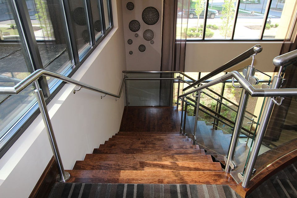 Stainless Steel With A Glass Staircase