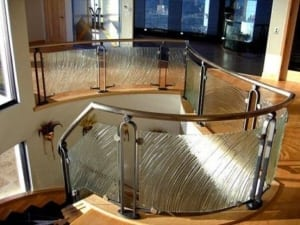 glass staircase and handrail