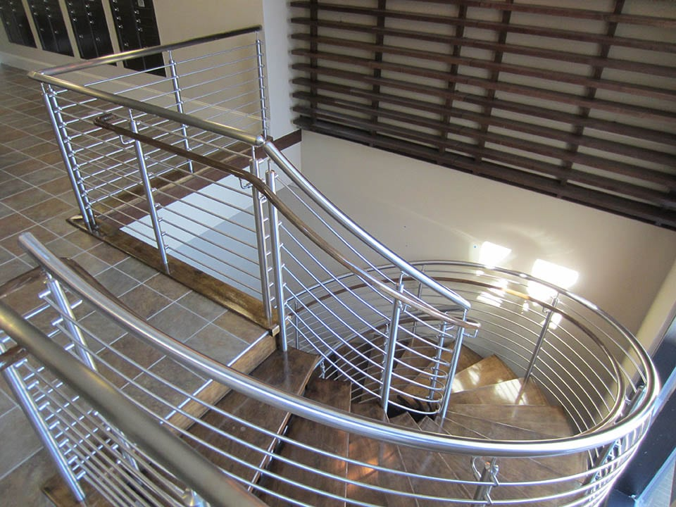 Modern Railing Open Riser Stairs