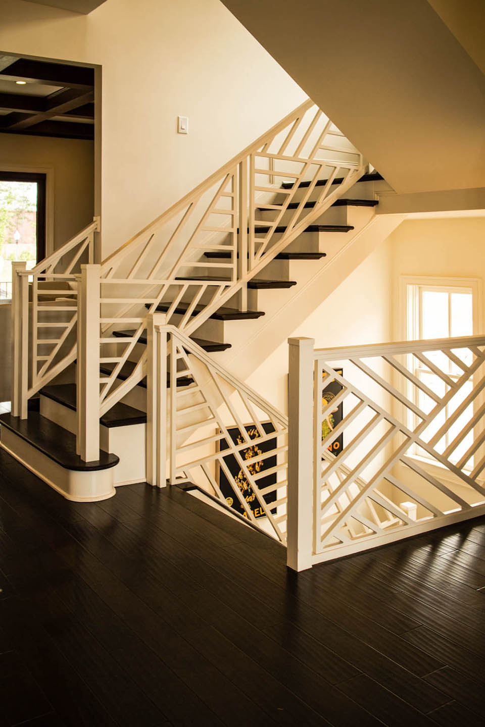Flared Custom Stairs. Wooden Baluster System