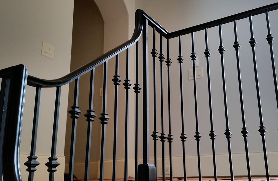 Double Open Winding Staircase Curved Stairs Wrought Iron Handrail Riser