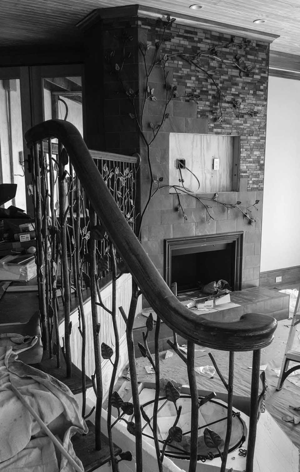 Wrought Iron Stair Railing With Wood