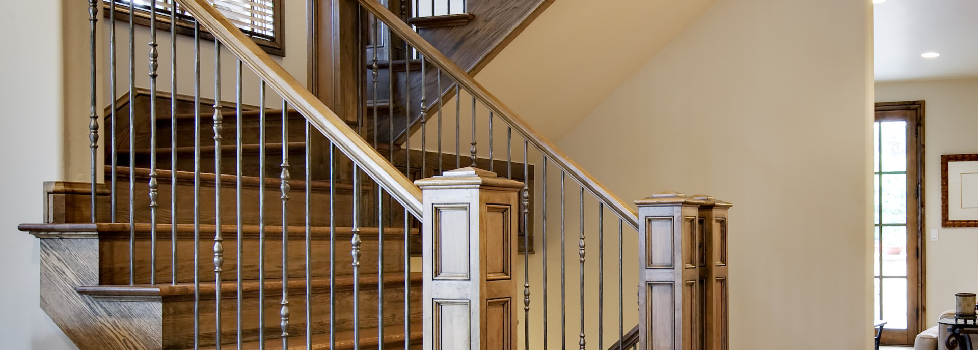Production Stairs with Wrought Iron Balusters Atlanta GA