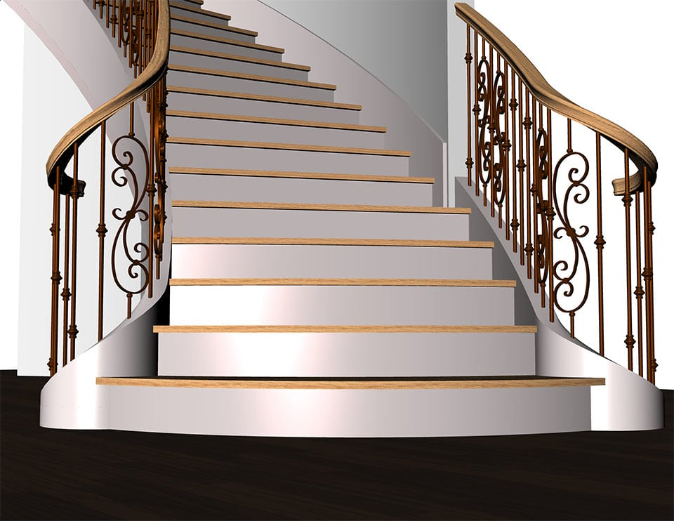 Residential Curve Metal Stairs